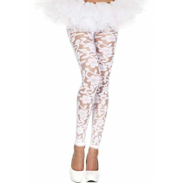 Vetements - Leggings dentelle fleurie blanc