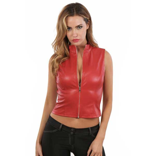Vetements - Gilet rouge col montant simili cuir